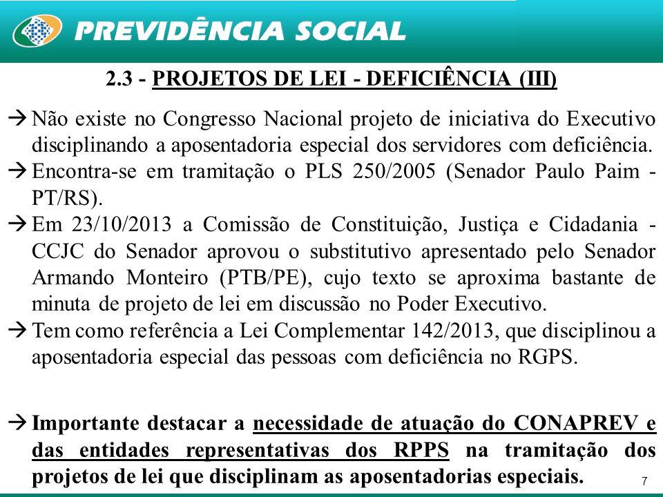 2.3 - PROJETOS DE LEI - DEFICIÊNCIA (III)