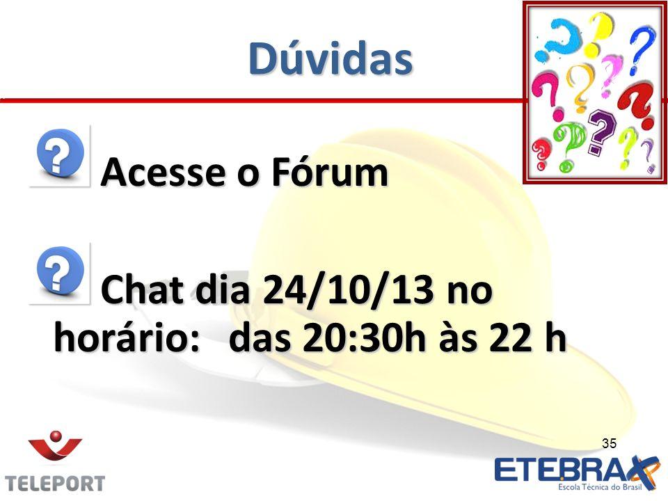 Dúvidas Acesse o Fórum Chat dia 24/10/13 no horário: das 20:30h às 22 h