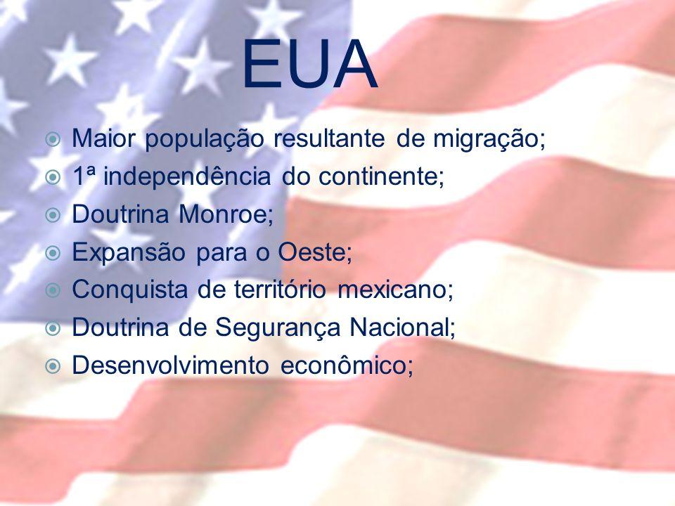 EUA Maior população resultante de migração;