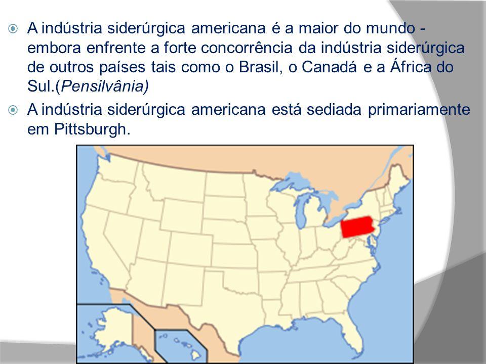 A indústria siderúrgica americana é a maior do mundo - embora enfrente a forte concorrência da indústria siderúrgica de outros países tais como o Brasil, o Canadá e a África do Sul.(Pensilvânia)
