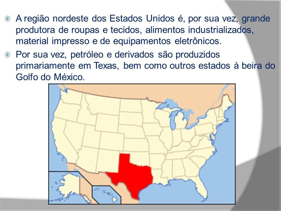 A região nordeste dos Estados Unidos é, por sua vez, grande produtora de roupas e tecidos, alimentos industrializados, material impresso e de equipamentos eletrônicos.