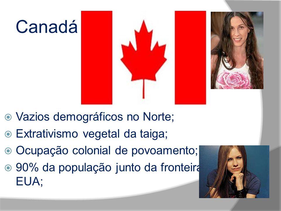 Canadá Vazios demográficos no Norte; Extrativismo vegetal da taiga;