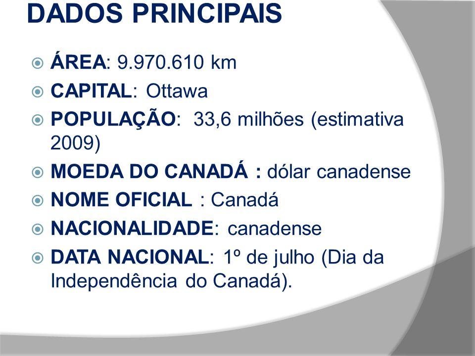 DADOS PRINCIPAIS ÁREA: 9.970.610 km CAPITAL: Ottawa
