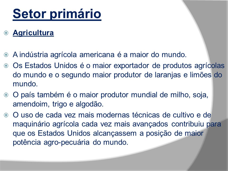 Setor primário Agricultura