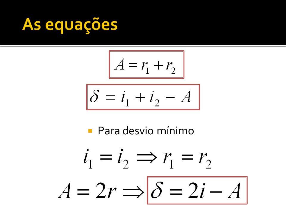 As equações Para desvio mínimo