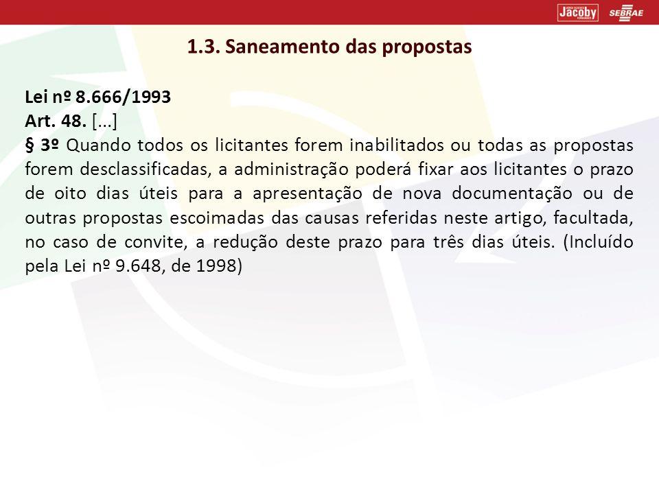 1.3. Saneamento das propostas