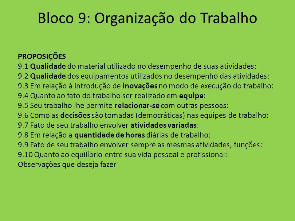 Bloco 9: Organização do Trabalho