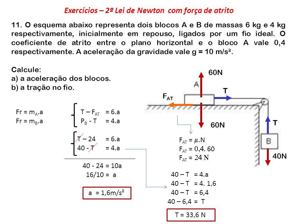 Exercícios – 2ª Lei de Newton com força de atrito