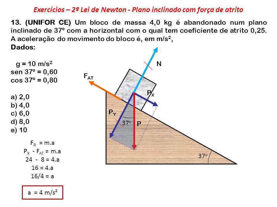 Exercícios – 2ª Lei de Newton - Plano inclinado com força de atrito
