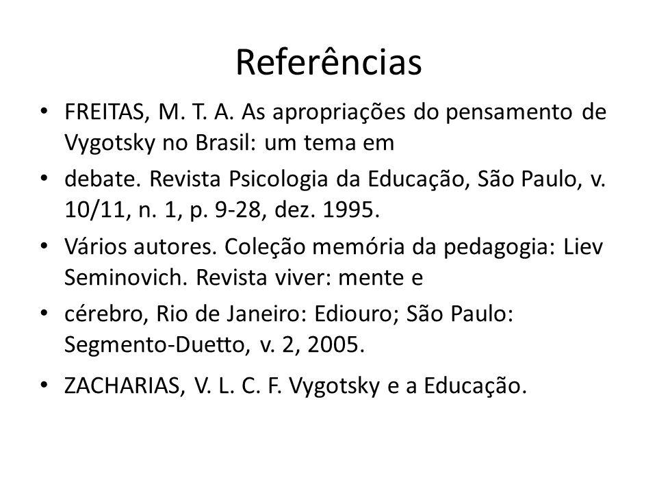 Referências FREITAS, M. T. A. As apropriações do pensamento de Vygotsky no Brasil: um tema em.