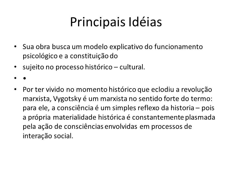 Principais Idéias Sua obra busca um modelo explicativo do funcionamento psicológico e a constituição do.