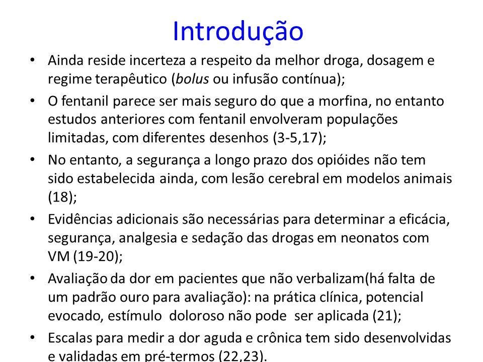 Introdução Ainda reside incerteza a respeito da melhor droga, dosagem e regime terapêutico (bolus ou infusão contínua);