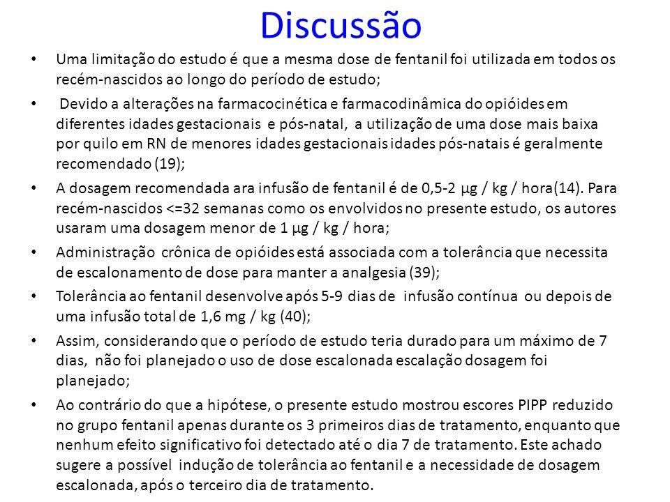 Discussão Uma limitação do estudo é que a mesma dose de fentanil foi utilizada em todos os recém-nascidos ao longo do período de estudo;