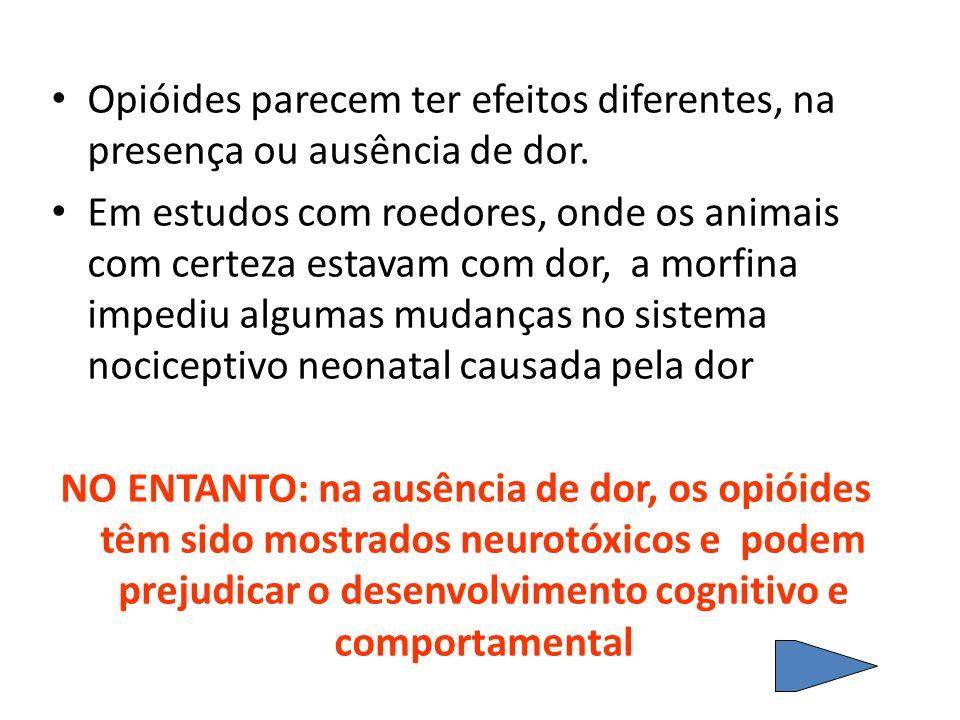 Opióides parecem ter efeitos diferentes, na presença ou ausência de dor.