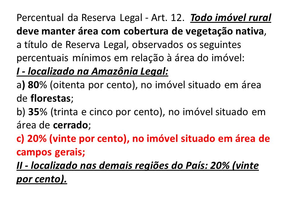 Percentual da Reserva Legal - Art. 12