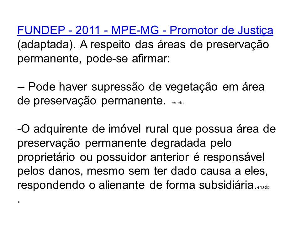 FUNDEP - 2011 - MPE-MG - Promotor de Justiça (adaptada)
