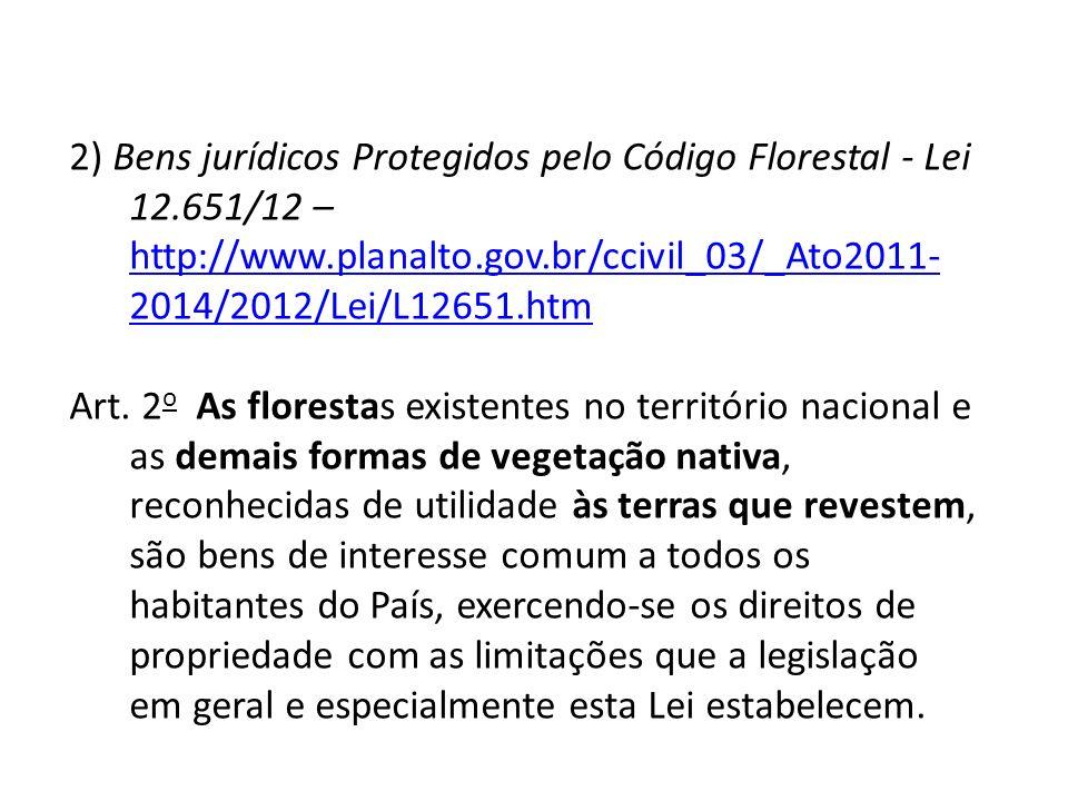 2) Bens jurídicos Protegidos pelo Código Florestal - Lei 12