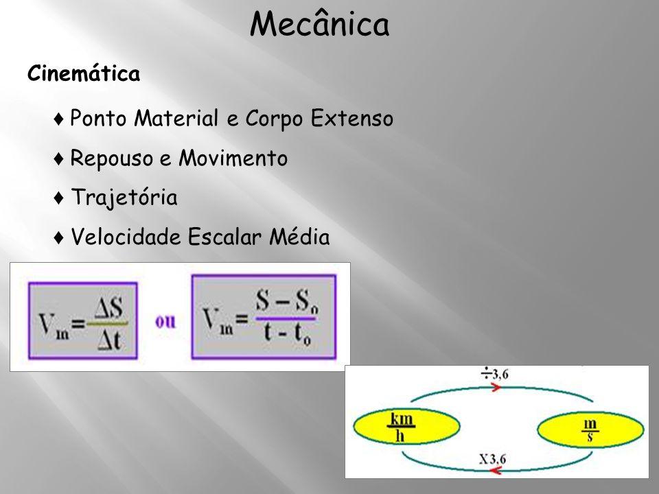 Mecânica Cinemática ♦ Ponto Material e Corpo Extenso