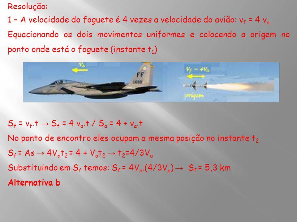 Resolução: 1 – A velocidade do foguete é 4 vezes a velocidade do avião: vf = 4 va.