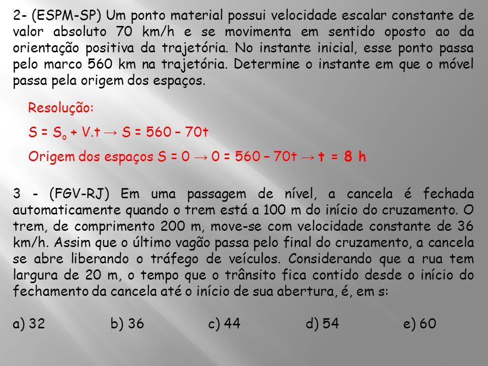 2- (ESPM-SP) Um ponto material possui velocidade escalar constante de valor absoluto 70 km/h e se movimenta em sentido oposto ao da orientação positiva da trajetória. No instante inicial, esse ponto passa pelo marco 560 km na trajetória. Determine o instante em que o móvel passa pela origem dos espaços.