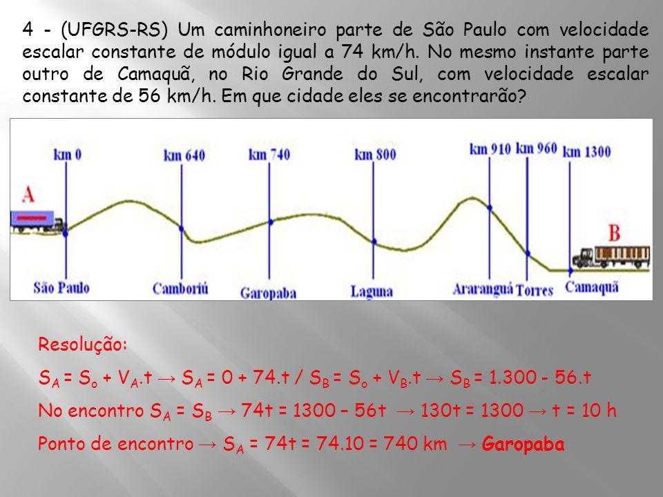 4 - (UFGRS-RS) Um caminhoneiro parte de São Paulo com velocidade escalar constante de módulo igual a 74 km/h. No mesmo instante parte outro de Camaquã, no Rio Grande do Sul, com velocidade escalar constante de 56 km/h. Em que cidade eles se encontrarão