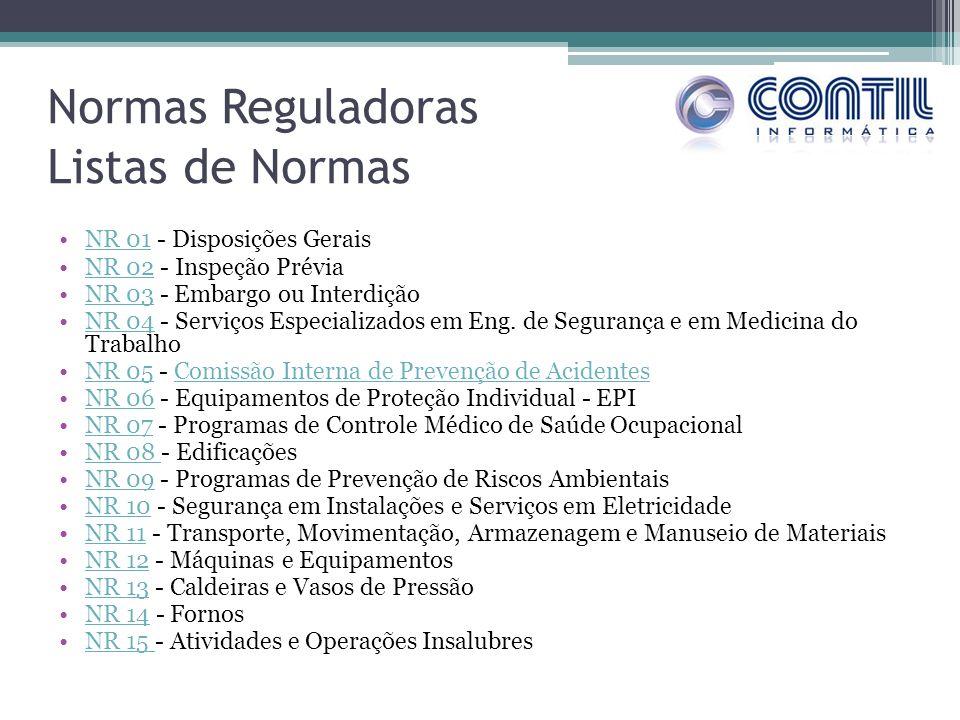 Normas Reguladoras Listas de Normas NR 01 - Disposições Gerais