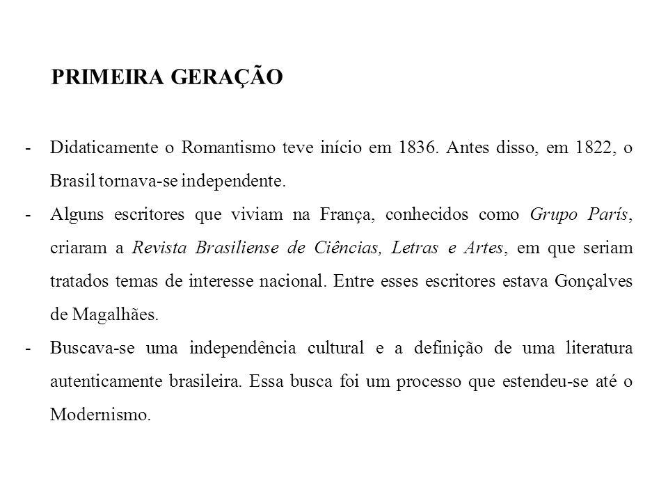 PRIMEIRA GERAÇÃO Didaticamente o Romantismo teve início em 1836. Antes disso, em 1822, o Brasil tornava-se independente.