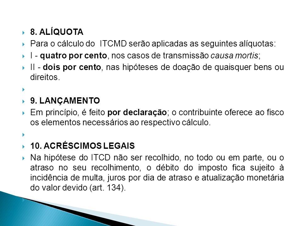 8. ALÍQUOTA Para o cálculo do ITCMD serão aplicadas as seguintes alíquotas: I - quatro por cento, nos casos de transmissão causa mortis;