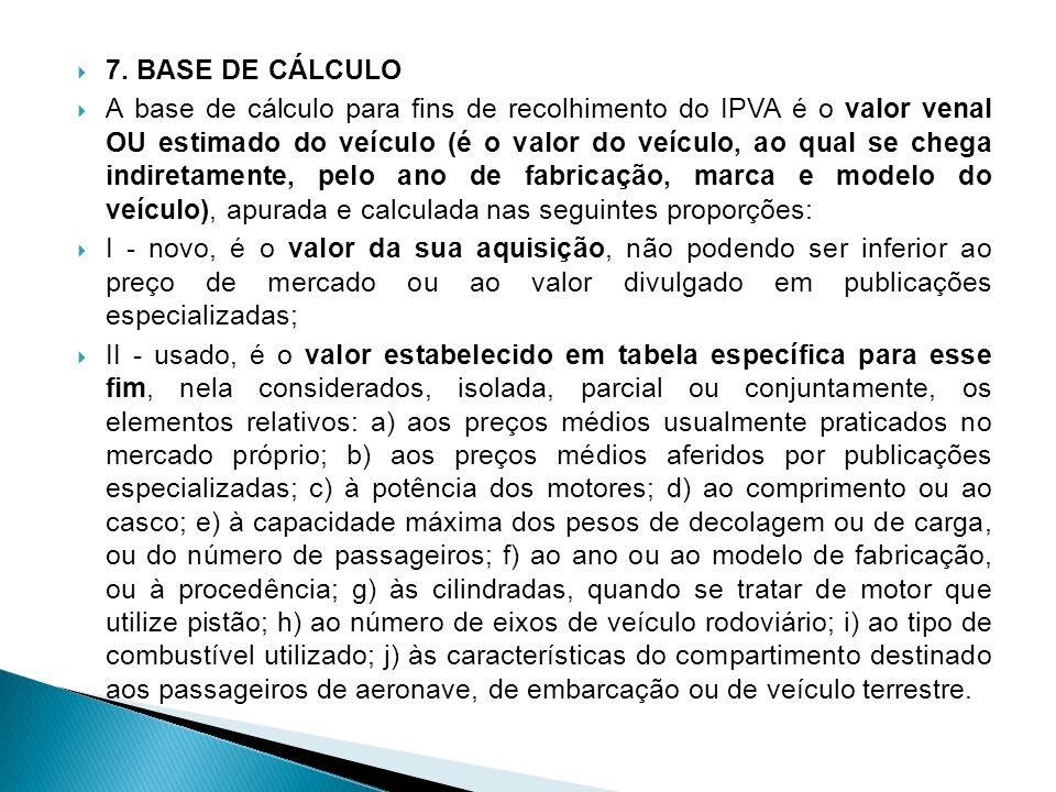 7. BASE DE CÁLCULO