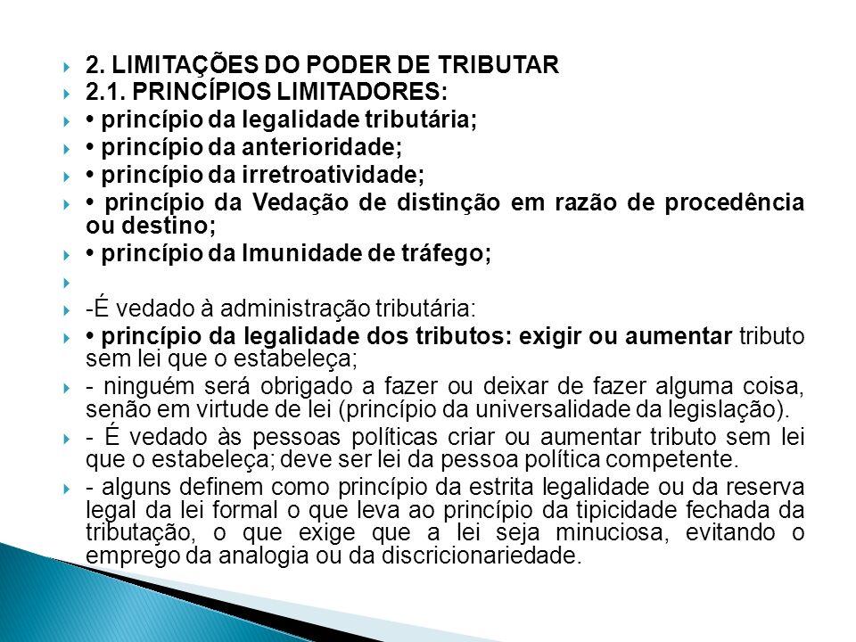 2. LIMITAÇÕES DO PODER DE TRIBUTAR