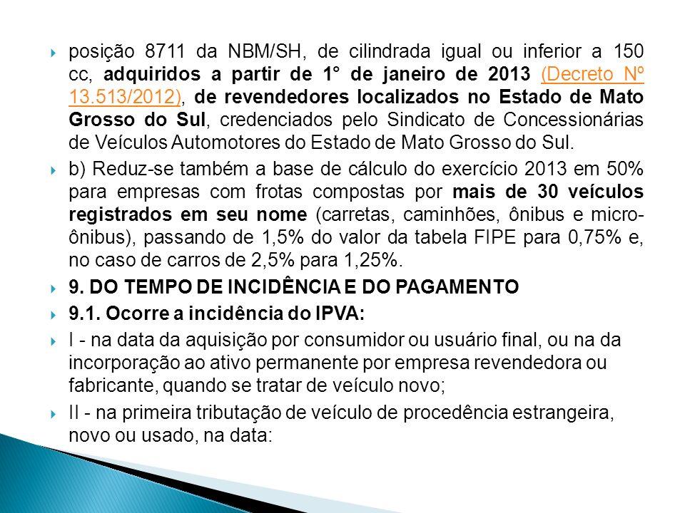 posição 8711 da NBM/SH, de cilindrada igual ou inferior a 150 cc, adquiridos a partir de 1° de janeiro de 2013 (Decreto Nº 13.513/2012), de revendedores localizados no Estado de Mato Grosso do Sul, credenciados pelo Sindicato de Concessionárias de Veículos Automotores do Estado de Mato Grosso do Sul.