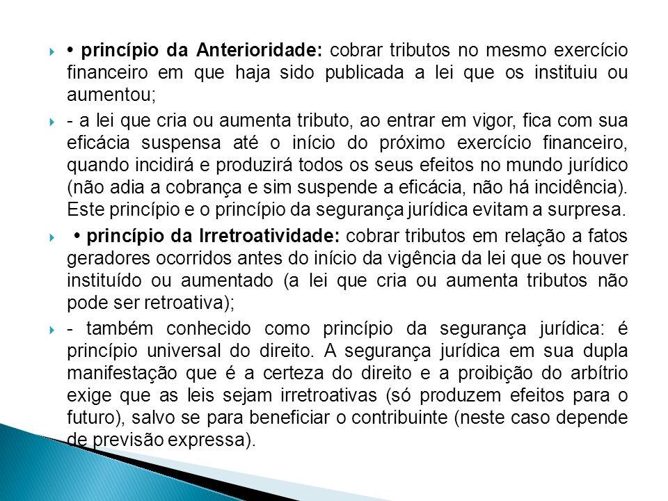 • princípio da Anterioridade: cobrar tributos no mesmo exercício financeiro em que haja sido publicada a lei que os instituiu ou aumentou;
