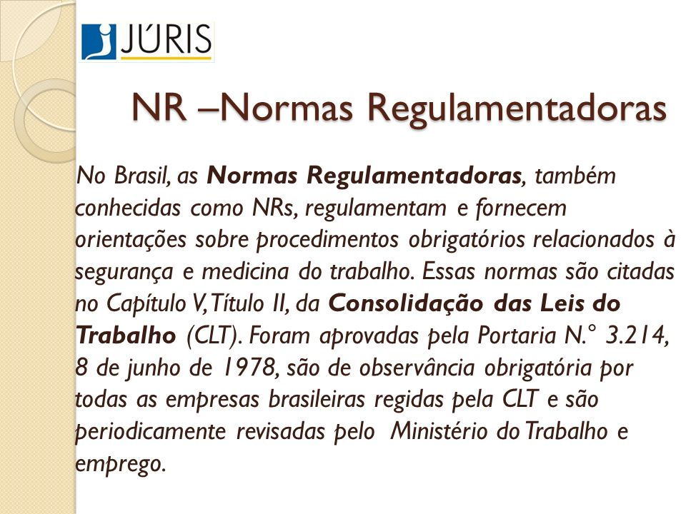 NR –Normas Regulamentadoras