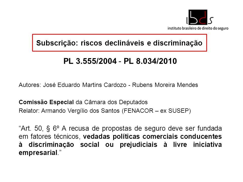 Subscrição: riscos declináveis e discriminação