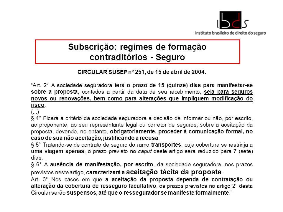 Subscrição: regimes de formação contraditórios - Seguro