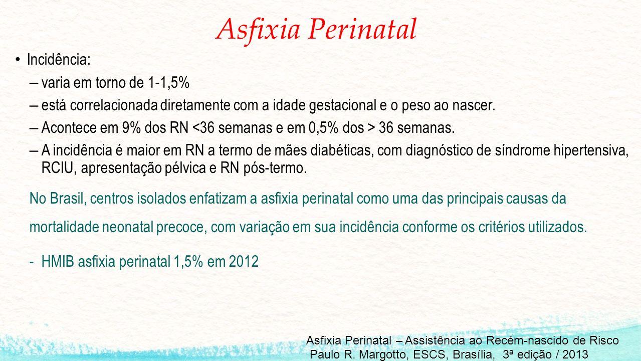 Asfixia Perinatal Incidência: varia em torno de 1-1,5%