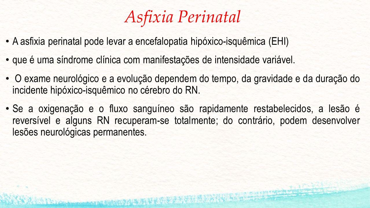 Asfixia Perinatal A asfixia perinatal pode levar a encefalopatia hipóxico-isquêmica (EHI)