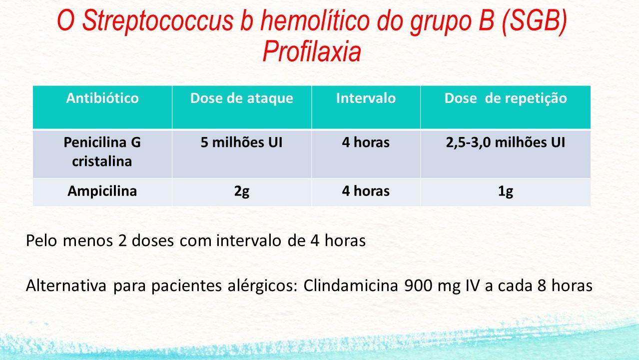 O Streptococcus b hemolítico do grupo B (SGB) Profilaxia