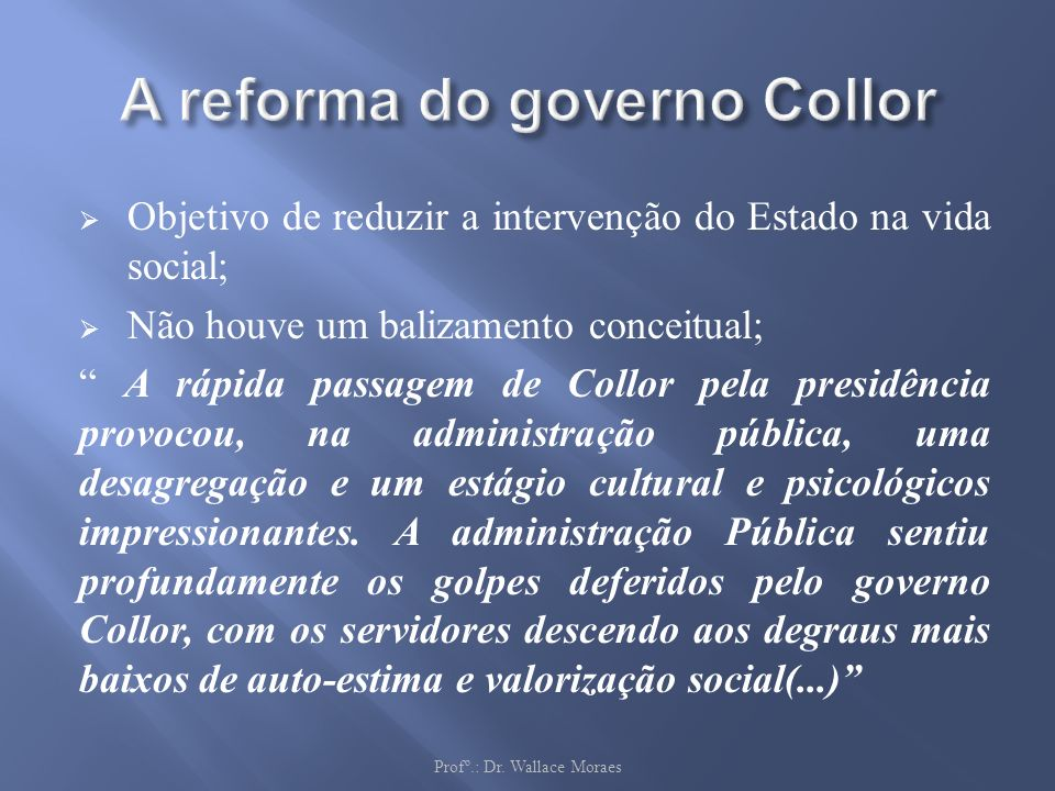 A reforma do governo Collor