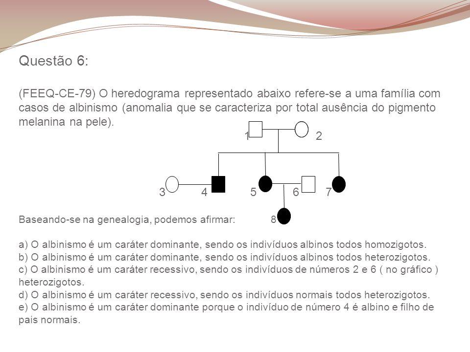 Questão 6: (FEEQ-CE-79) O heredograma representado abaixo refere-se a uma família com casos de albinismo (anomalia que se caracteriza por total ausência do pigmento melanina na pele).