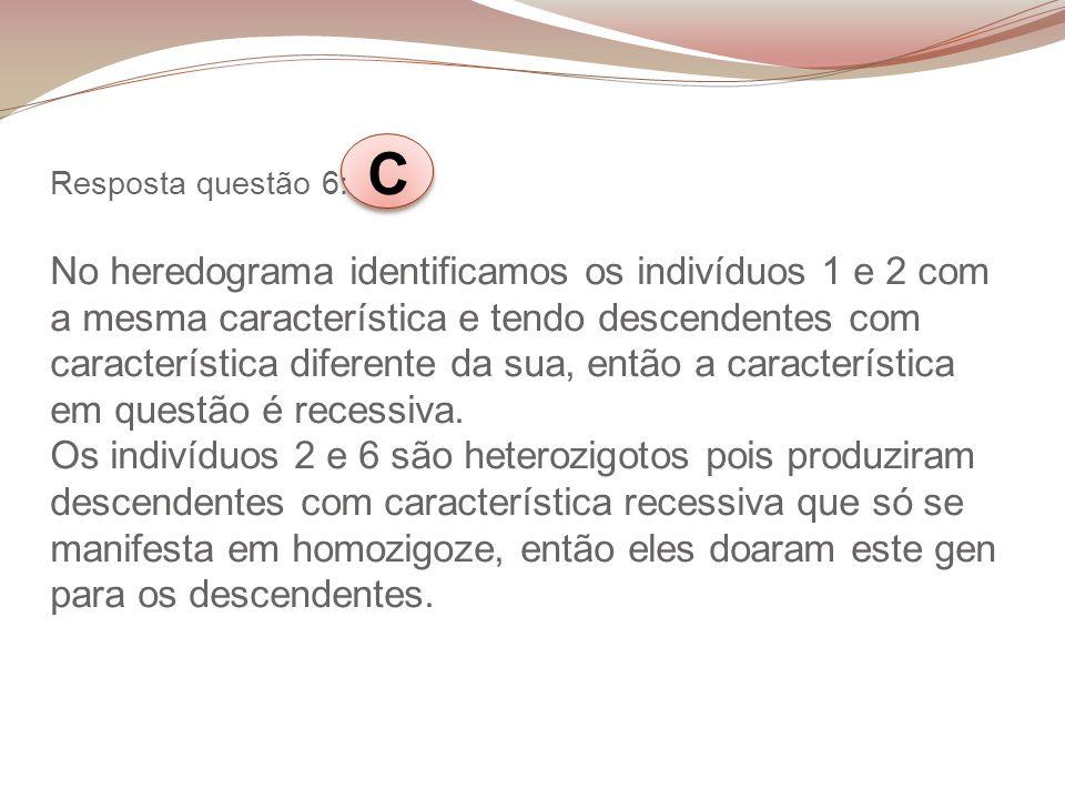 Resposta questão 6: C No heredograma identificamos os indivíduos 1 e 2 com a mesma característica e tendo descendentes com característica diferente da sua, então a característica em questão é recessiva.