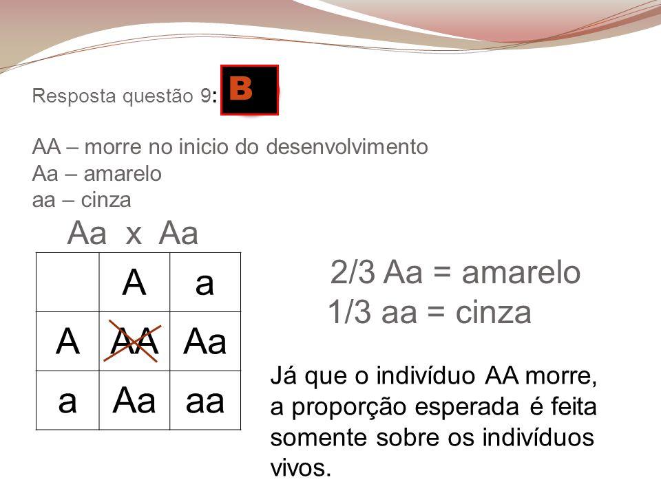 Resposta questão 9: D AA – morre no inicio do desenvolvimento Aa – amarelo aa – cinza Aa x Aa 2/3 Aa = amarelo 1/3 aa = cinza