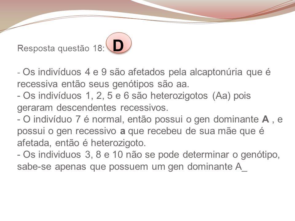 Resposta questão 18: D - Os indivíduos 4 e 9 são afetados pela alcaptonúria que é recessiva então seus genótipos são aa.