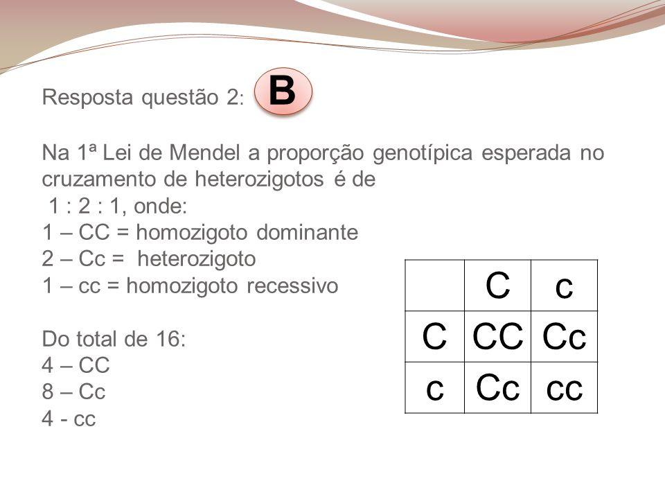 Resposta questão 2: B Na 1ª Lei de Mendel a proporção genotípica esperada no cruzamento de heterozigotos é de 1 : 2 : 1, onde: 1 – CC = homozigoto dominante 2 – Cc = heterozigoto 1 – cc = homozigoto recessivo Do total de 16: 4 – CC 8 – Cc 4 - cc