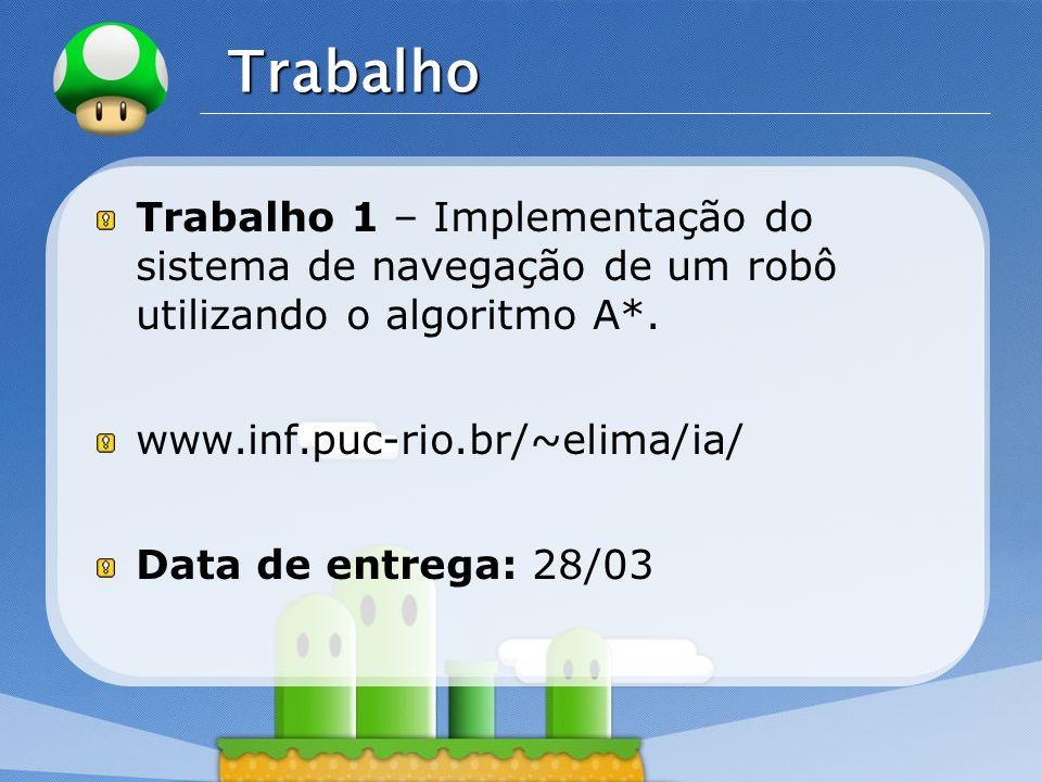 Trabalho Trabalho 1 – Implementação do sistema de navegação de um robô utilizando o algoritmo A*. www.inf.puc-rio.br/~elima/ia/
