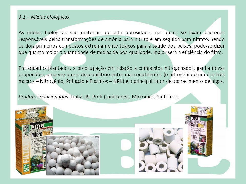 3.1 – Mídias biológicas As mídias biológicas são materiais de alta porosidade, nas quais se fixam bactérias responsáveis pelas transformações de amônia para nitrito e em seguida para nitrato.