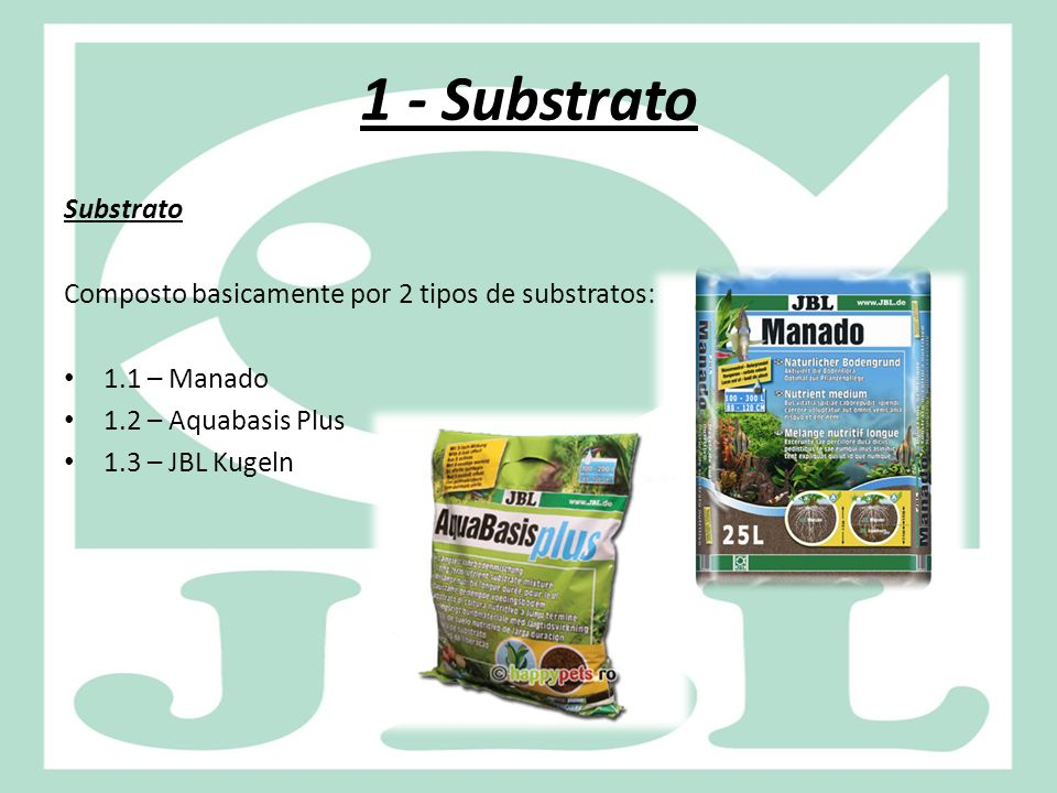 1 - Substrato Substrato. Composto basicamente por 2 tipos de substratos: 1.1 – Manado. 1.2 – Aquabasis Plus.