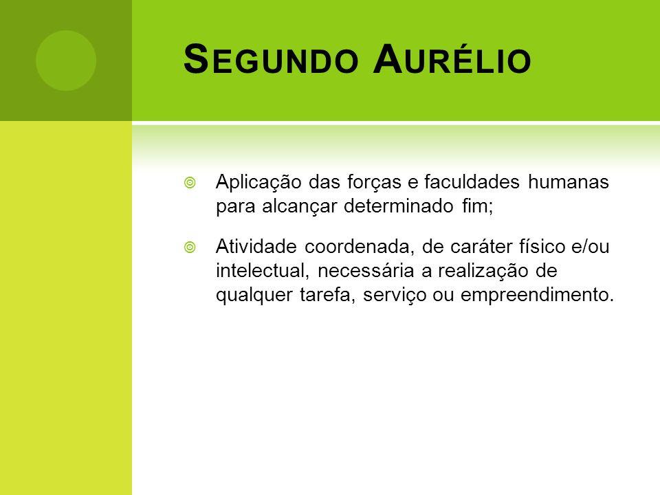 Segundo Aurélio Aplicação das forças e faculdades humanas para alcançar determinado fim;
