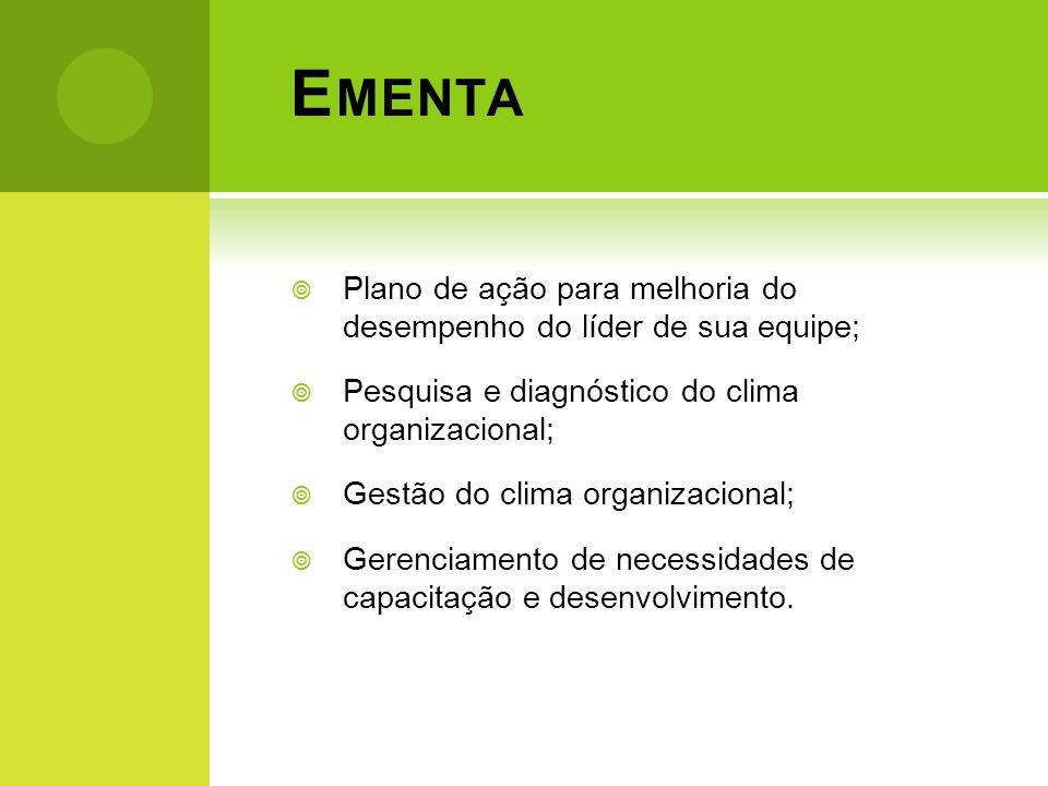Ementa Plano de ação para melhoria do desempenho do líder de sua equipe; Pesquisa e diagnóstico do clima organizacional;