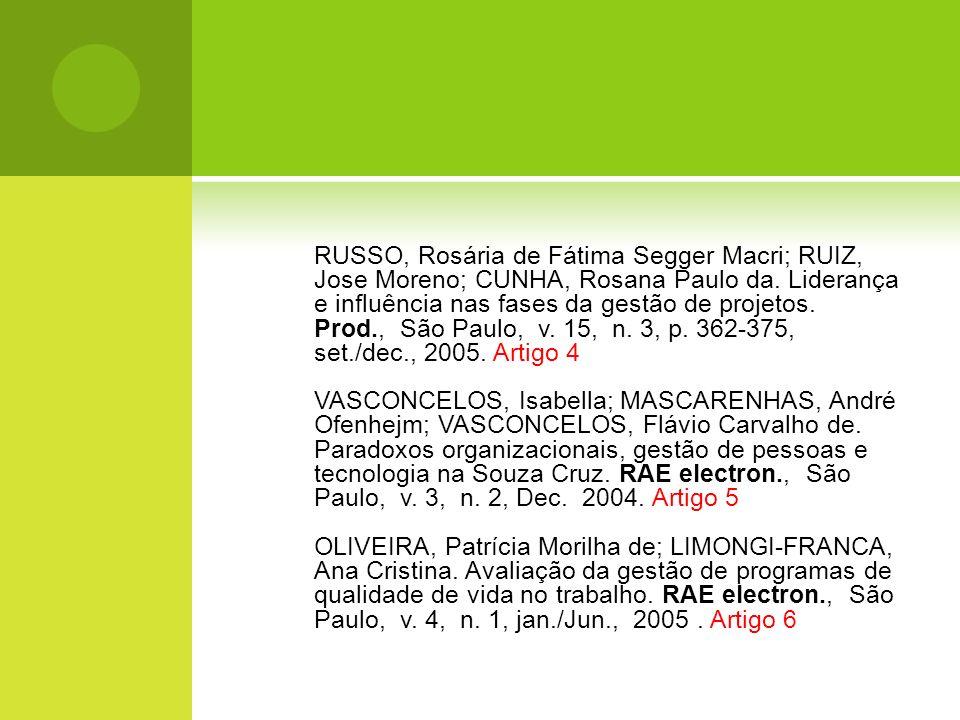 RUSSO, Rosária de Fátima Segger Macri; RUIZ, Jose Moreno; CUNHA, Rosana Paulo da. Liderança e influência nas fases da gestão de projetos. Prod., São Paulo, v. 15, n. 3, p. 362-375, set./dec., 2005. Artigo 4
